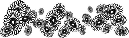 white daisy: black and white daisy chain flower border Illustration