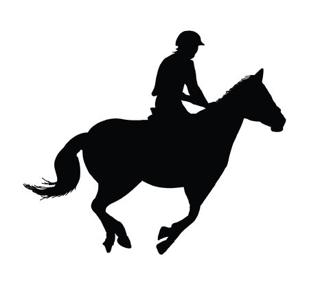 equestrian horse rider showjumping silhouette Illustration