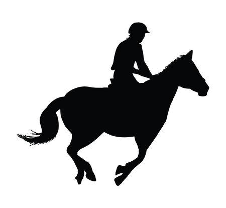 equestrian horse rider showjumping silhouette Illustration