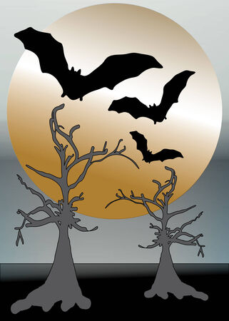nightime: halloween golden moon with skeleton trees and flying bats