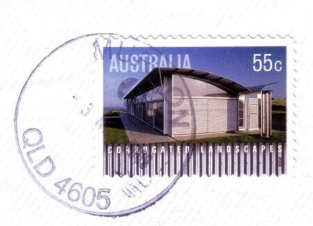 house series: AUSTRALIA - CIRCA 2009: Australian stamp shows image of corrugated iron house, series, circa 2009