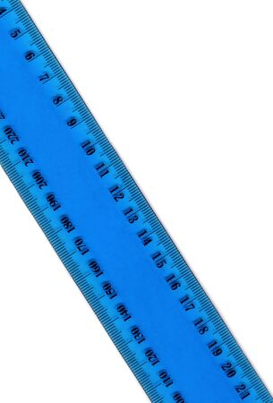 millimetres: transparent plastic old school ruler over white Stock Photo