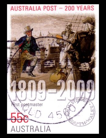 postmaster: Australia - circa 2009 :  an Australian postal stamp cancelled depicting first postmaster australia post 200 years