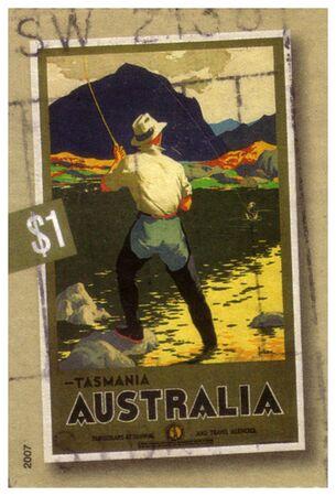 circa 2007 :  an Australian postal stamp cancelled depicting fly fishing in Tasmania