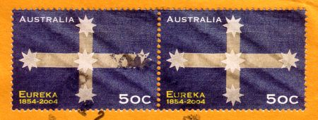 stockade: Australia - circa 2004 : cancelled Australian postage stamp depicting  Eureka Stockade uprising history 1854 Stock Photo