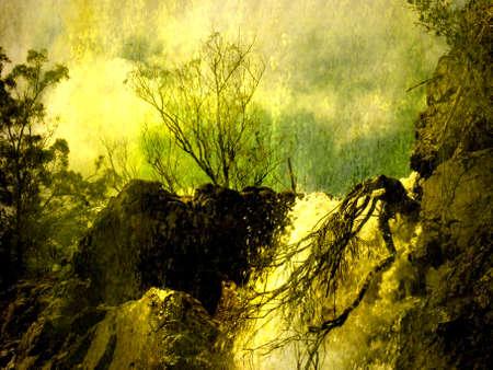 Grunge Landscape Fiery Waterfall grungy effect photo