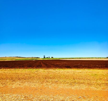 Cultivated ploughed field in farm agriculture area with blue sky Stock Photo - 15493799