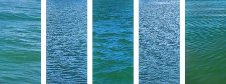 Panoramic water set of ocean seawater texture images on banner Reklamní fotografie