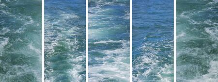 blue waters: Set of rough water photos in panoramic banner Stock Photo