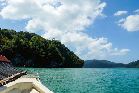langkawi island: Sea, mountain, and sky on the boat for holidays at Langkawi Island, Malaysia.