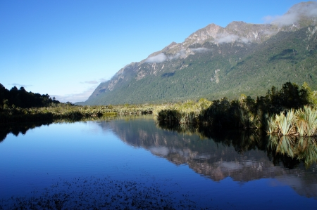 newzealand: Mirror Lake at New Zealand Stock Photo