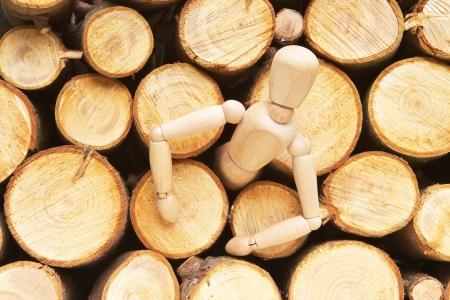 liberating: Wodd doll liberating of logs