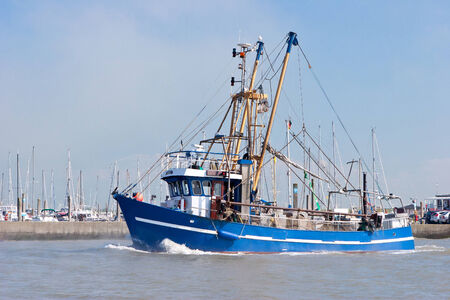 shrimp boat: Crabber on sea Stock Photo