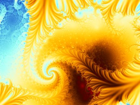 Spiral fractal resembling a volcano on an island
