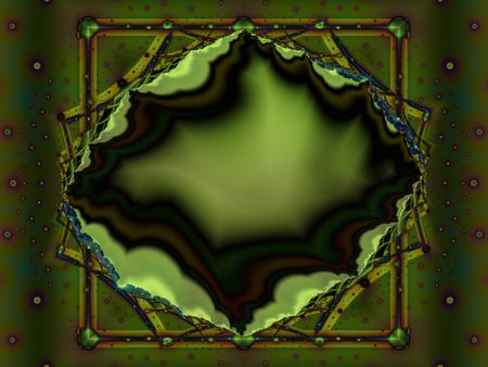Green fractal depicting a geode gemstone in a frame