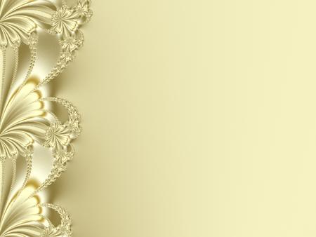 黄色や花の花弁に似ている金の派手なフラクタルの境界線。例えばキャンディ ボックス デザイン、本の表紙、パンフレット、カード、プレゼンテー