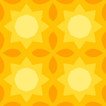 Seamless texture with a yellow sun and orange leaves pattern in simple style. Suitable for print on textiles, bed sheets, tablecloths, wrapping paper, kitchen tiles or as a mobile or PC background.