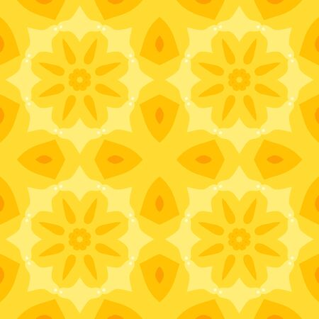 bed sheets: Seamless simple texture with a yellow flower and stylised orange leaves pattern. Suitable for print on textiles, bed sheets, tablecloths, wrapping paper, kitchen tiles or as a mobile or PC background.