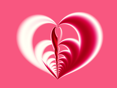 Pink, red and white Valentine fractal depicting a big heart with different halves. Suitable for many creative Valentine or wedding designs or as a background for desktop or mobile phone, books, cards. Stock Photo