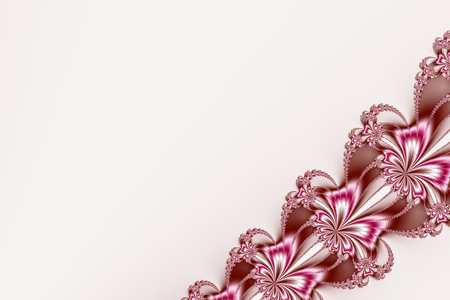 bg: Fancy diagonal ribbon fractal in pink, brown and white, resembling flowers. Text space. For candy box designs, templates, books, leaflets, cards, pamphlets, websites, PC or phone background. Stock Photo