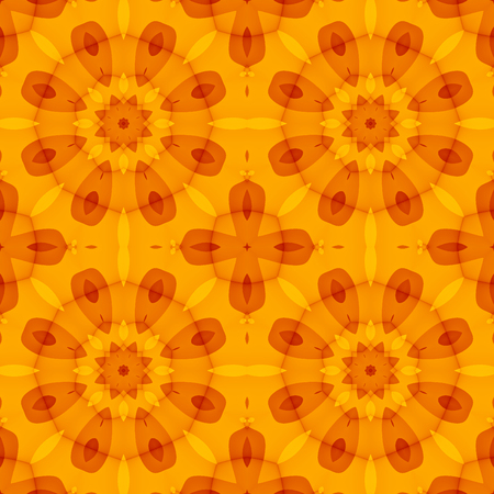 Seamless Texture With An Orange Floral Pattern. Optimistic. For Print On  Textiles, Bed