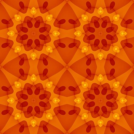 bed sheets: Seamless texture with a warm orange red floral pattern. For print on textiles, bed sheets, tablecloths, wrapping paper, wallfloor tiles for kitchenbathroomhall, mobile or desktop background. Stock Photo