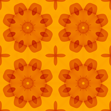 Seamless Texture With Warm Orange Red Stylized Flowers For Print - Orange print sheets