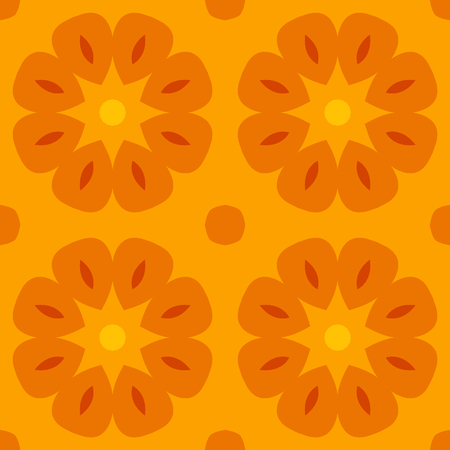 bed sheets: Seamless texture with cute stylized flowers in warm orange. For print on textiles, bed sheets, tablecloths, wrapping paper, wallfloor tiles for kitchenbathroomhall, mobile or desktop background. Stock Photo