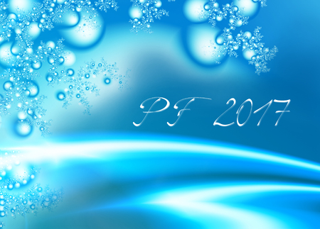 Light blue shiny fractal based PF 2017, good luck wishing card for New Year with shiny blue curves, stylized twigs, Christmas ornaments decoration and delicate white text. Romantic and energetic feel.