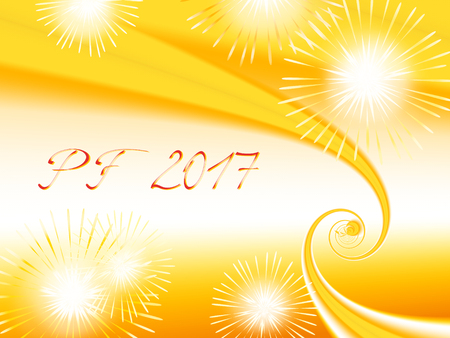 Yellow, orange and white shiny fractal based PF 2017, good luck wishing card for New Year with yellow and orange spirals, several warm color fireworks and delicate red text. Energetic and romantic.