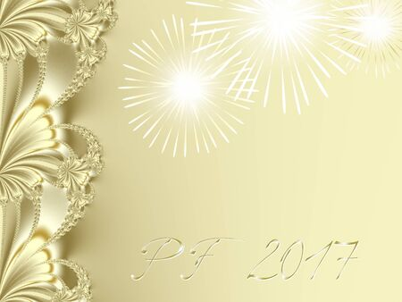 Gold shiny fractal based PF 2017, good luck wishing card for New Year with ornate ribbon stripe on the left edge, several shiny fireworks and delicate gold text with 3d effect. Romantic and festive. Stock Photo