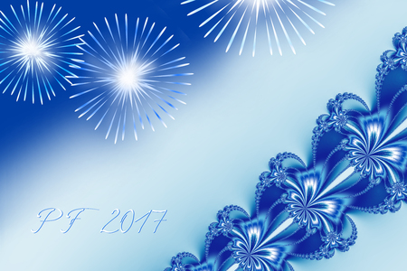 Blue shiny fractal based PF 2017, good luck wishing card for New Year with ornate ribbon stripe over the right corner, several shiny fireworks and delicate white and blue text. Romantic and festive.
