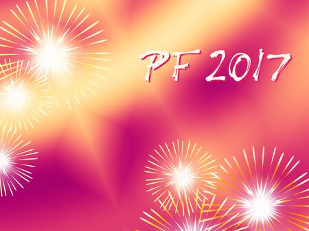 energetic: Red and yellow color PF 2017 Wishing good luck card for New Year based on a blended background with fractal Several warm color fireworks and funky white red text. Energetic and optimistic