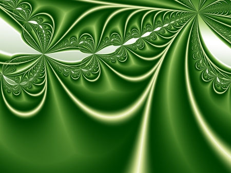 Abstract fractal background with gradients and curves in shades of green. For various creative projects and designs, templates, layouts, pamphlets, decorative prints etc.