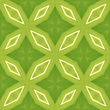 Green abstract texture. Seamless tile. Diamond shapes arrangement in a background illustration. Textile print pattern. Home decor fabric design sample. Tileable motif for pillows, cushions, tablecloth
