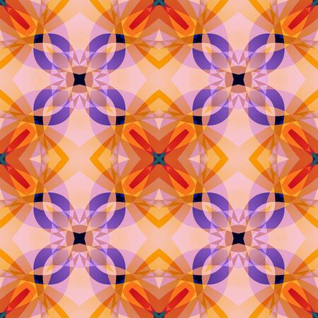 Orange purple pink modern abstract texture. Detailed background illustration. Seamless tile. Home decor fabric design sample. Textile print pattern. Tileable motif for pillows, cushions, tablecloths