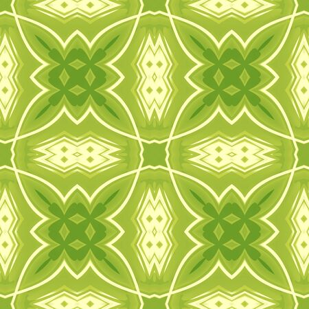 Green abstract texture. Seamless tile. Background illustration with crossing lines. Textile print pattern. Home decor fabric design sample. Tileable motif for pillows, cushions, tablecloths, drapes Stock Photo