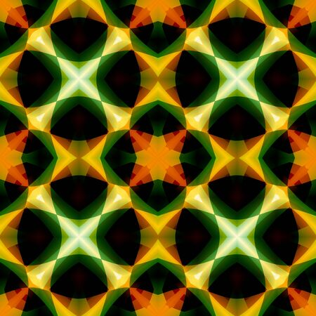 Vivid green orange abstract texture. Seamless tile. Detailed background illustration. Home decor fabric design sample. Tileable motif for pillows, cushions, tablecloths, drapes. Textile print pattern. Stock Photo