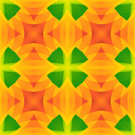 Vivid green orange abstract texture. Seamless tile. Home decor fabric design sample. Detailed background illustration. Tileable motif for pillows, cushions, tablecloths, drapes. Textile print pattern. Stock Photo