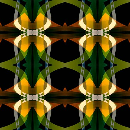 Green black orange abstract texture. Detailed background illustration. Home decor fabric design sample. Structured seamless tile. Textile print pattern. Tileable motif for pillows, cushions, drapes