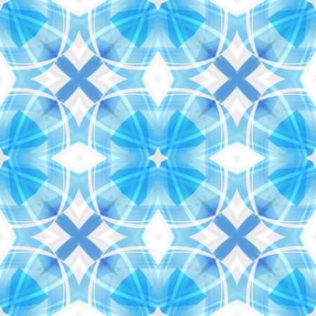 Blue white abstract texture. Simple background illustration. Home decor fabric design sample. Contrast seamless tile. Textile print pattern. Tileable motif for pillows, cushions, bed covers, scarves Stock Illustration - 94365289