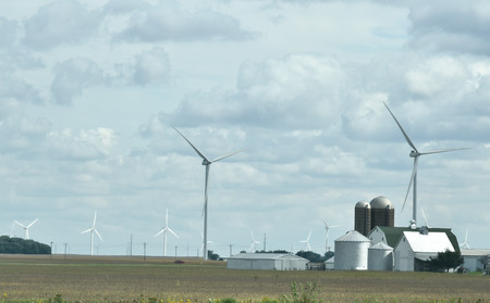 Wind Turbines On Midwest Farm