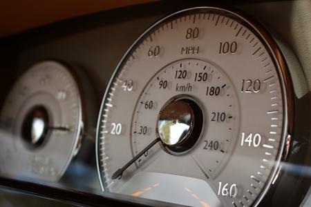 Luxury super sports car bespoke interior with speedometer and gauge cluster instrument panel. Reklamní fotografie