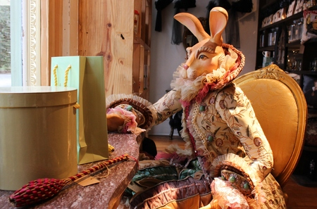 SAVANNAH, GEORGIA, USA – Costumed rabbit display in the window of The Olfactory Company on July 31, 2015.