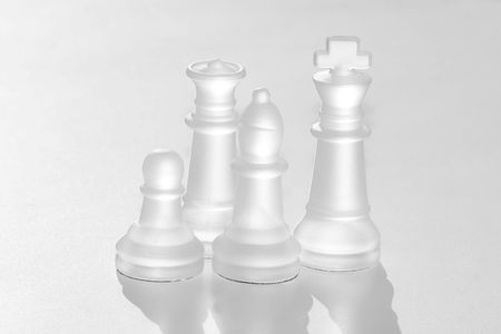 crystal chess peices over white