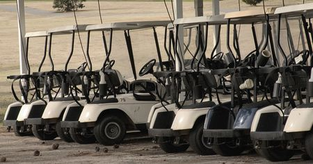Electric golf carts charging and ready to use