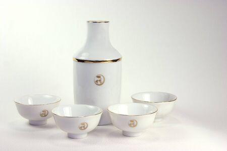 saki: Saki  and cups Stock Photo