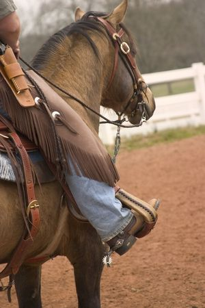 mounted: Mounted cowboy and horse wait there turn for mounted shooting contest Stock Photo