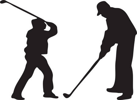 sillhouette: Vector images of two golfers Illustration