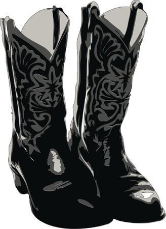 riding boot: Cowboy Boots Illustration